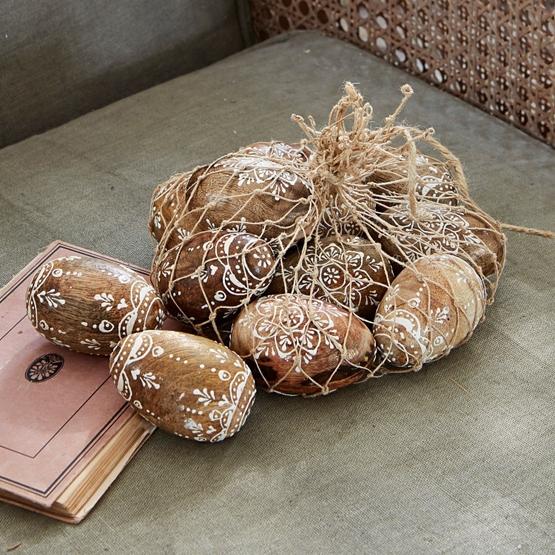 Bemalte Mangoholzeier