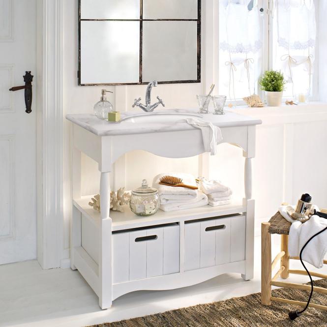 Waschtisch Savigneux | Bad > Badmöbel | Weiß | Korpus: erlenholz -  platte: marmor -  becken: keramik | LOBERON