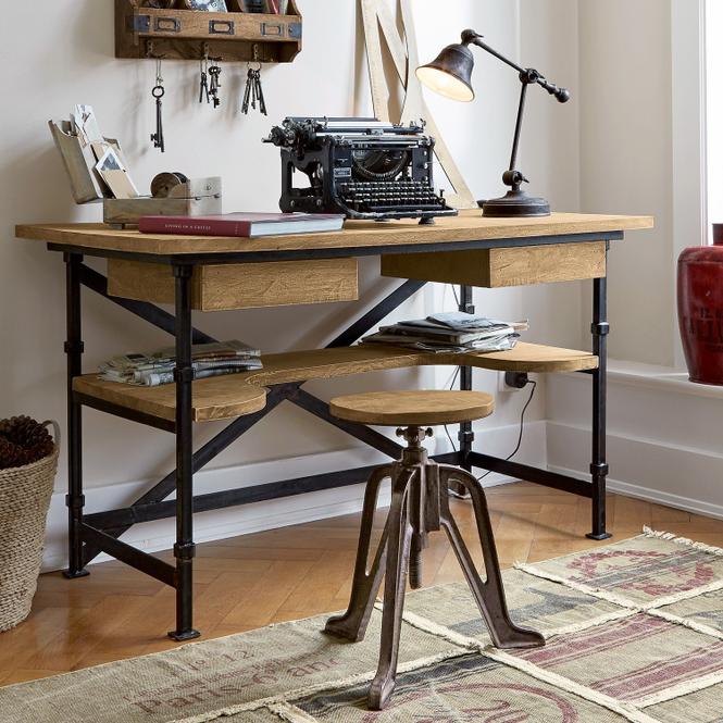 Schreibtisch Glenwood | Büro > Bürotische | Antikbraun/schwarz | Gestell:  eisen -  platten & schubladen: mangoholz | LOBERON