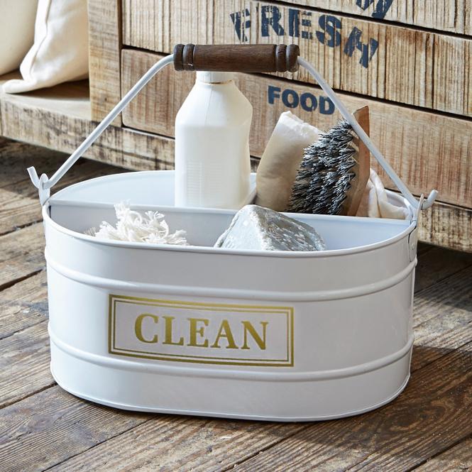 Eimer Clean | Küche und Esszimmer > Küchen-Zubehör > Mülleimer | Weiß | Eisen -  griff: mangoholz | LOBERON