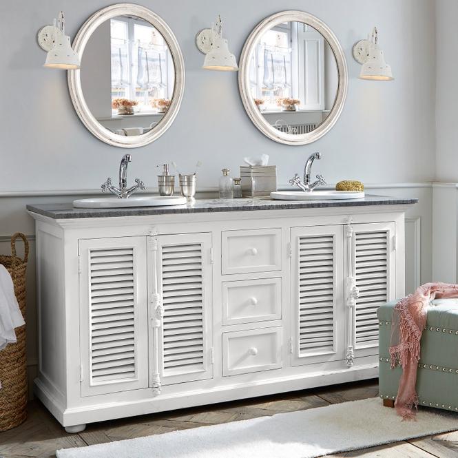 Waschtisch South Paris | Bad > Badmöbel > Badmöbel-Sets | Antikweiß/grau | Rahmen: mangoholz -  rückwand: mdf -  platte: marmor -  becken: keramik -  verschlussmechanismus: eisen | LOBERON