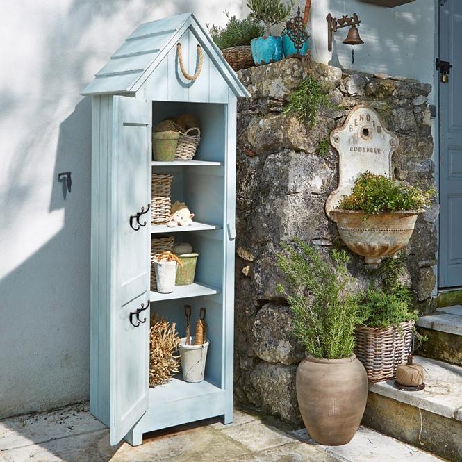 "Gartenschrank ""Thomas"" aus Tannenholz, hellblau (Kopie) Loberon"