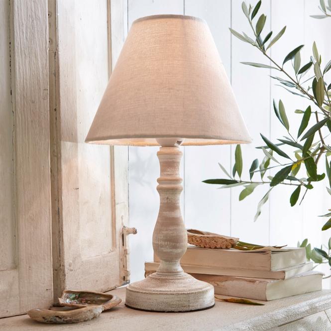 Tischlampe Kayenta   Lampen > Tischleuchten > Beistelltischlampen   Leinen/antikweiß   Fuß: kiefernholz -  schirm: 60% leinen und 40% polyester   LOBERON