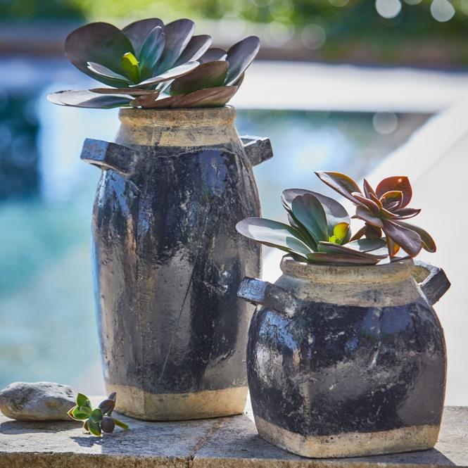 Übertopf 2er Set Torey   Garten > Pflanzen > Blumentöpfe   Antikblau   Terrakotta   LOBERON