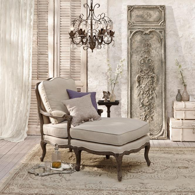 Chaiselongue Monneville | Wohnzimmer > Sessel > Relaxliegen | Leinen/braun | Gestell: ulmenholz -  obermaterial: 100% leinen -  polsterung: schaumstoff | LOBERON