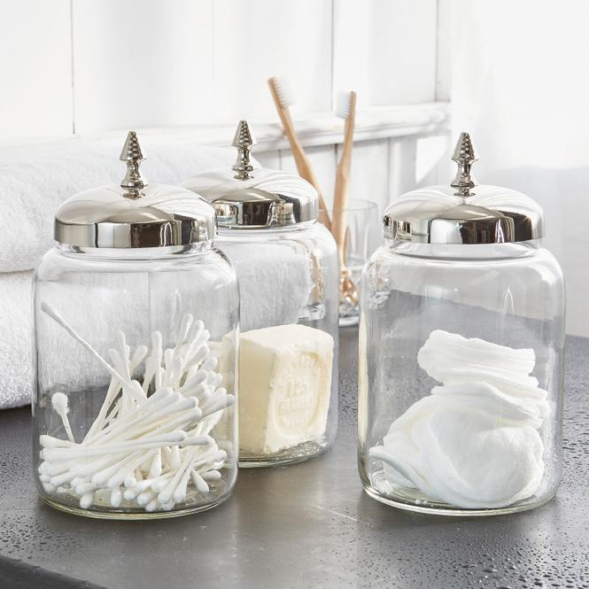 Dose 3er Set Dandre | Küche und Esszimmer > Aufbewahrung | Silber/klar | 60% glas 20% edelstahl 20% messing | LOBERON