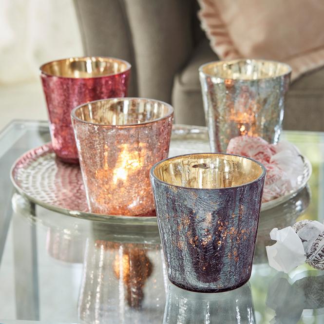 Windlicht 4er Set Jil   Dekoration > Kerzen und Kerzenständer > Windlichter   Bunt   Glas   LOBERON