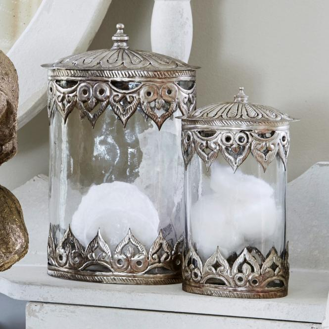 Dose 2 er Set Censeau | Küche und Esszimmer > Aufbewahrung | Klar/silber | Glas -  deckel: messing -  ornament: messing | Accessoires | Gläser & Schalen