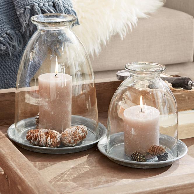 Windlicht 2er Set Gwendale | Dekoration > Kerzen und Kerzenständer > Windlichter | Klar/grau | Kerzenteller: eisen -  windlicht: glas | Accessoires | Windlichter & mehr