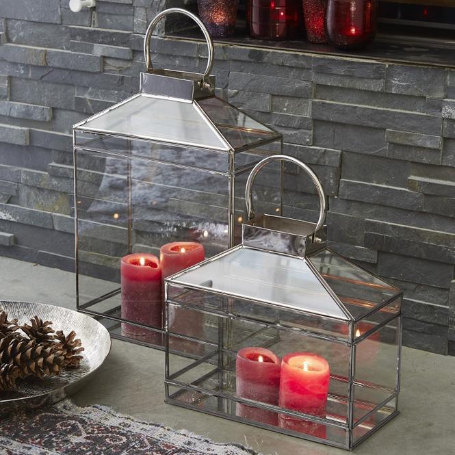 Laterne 2er Set Francesca | Dekoration > Kerzen und Kerzenständer > Laternen | Klar/silber | Einsatz: glas -  gestell: stahl | Accessoires | Feuer & Licht
