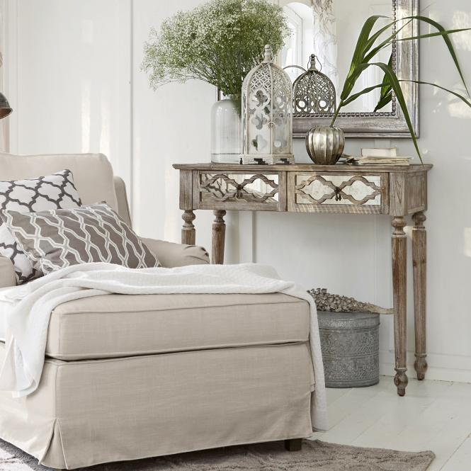 Konsole Hadda | Wohnzimmer > Tische > Konsolentische | Antikgrau | Kiefernholz -  einsatz: glas -  rückwand: mdf | Möbel | Kommoden & Konsolen | Konsolen