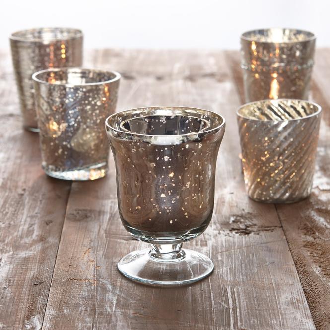 Tablett mit Teelichtern Tilli | Dekoration > Kerzen und Kerzenständer > Teelichter | Antiksilber | Glas | Accessoires | Windlichter & mehr