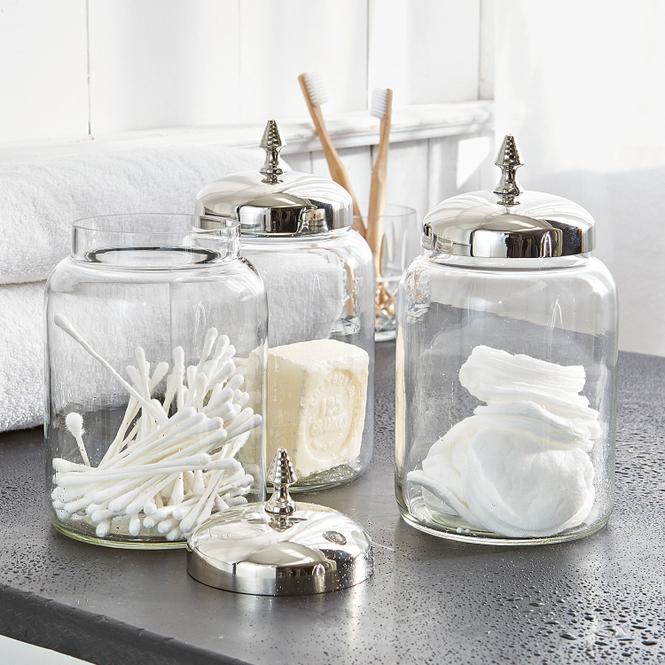 Dose 3er Set Dandre | Küche und Esszimmer > Aufbewahrung > Vorratsdosen | Silber/klar | Glas -  deckel: edelstahl | Accessoires | Gläser & Schalen