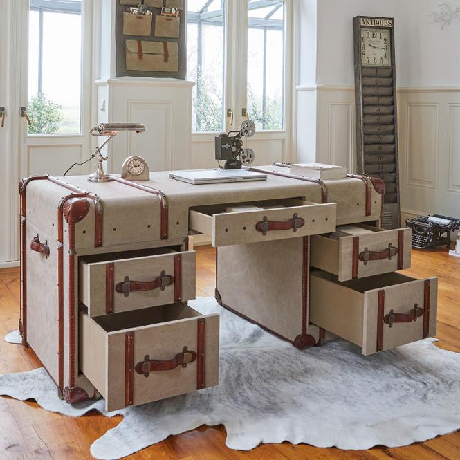 Schreibtisch Cox | Büro > Bürotische > Schreibtische | Khaki | Gestell: rattan -  bezug: baumwollcanvas -  griffe: rindsleder | Möbel | Schreibtische & Sekretäre