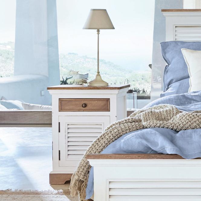 Nachttisch 2er Set Janek | Schlafzimmer > Nachttische | Antikweiß | Mangoholz -  rückwand: mdf | Möbel | Beistelltische