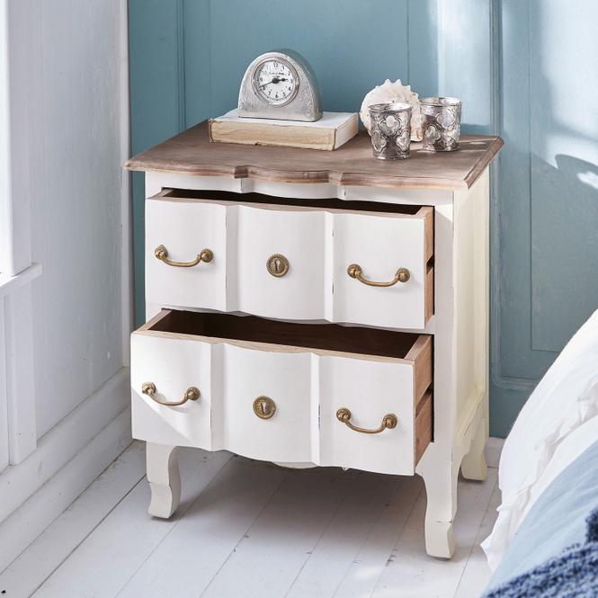Nachttisch Dubonne | Schlafzimmer > Nachttische | Antikweiß | Mangoholz -  rückseite: mdf -  schublade innen: mdf | Möbel | Beistelltische