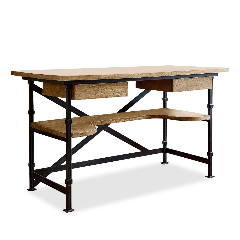 LOBERON Schreibtisch Glenwood, antikbraun/schwarz (70 x 130 x 78cm)
