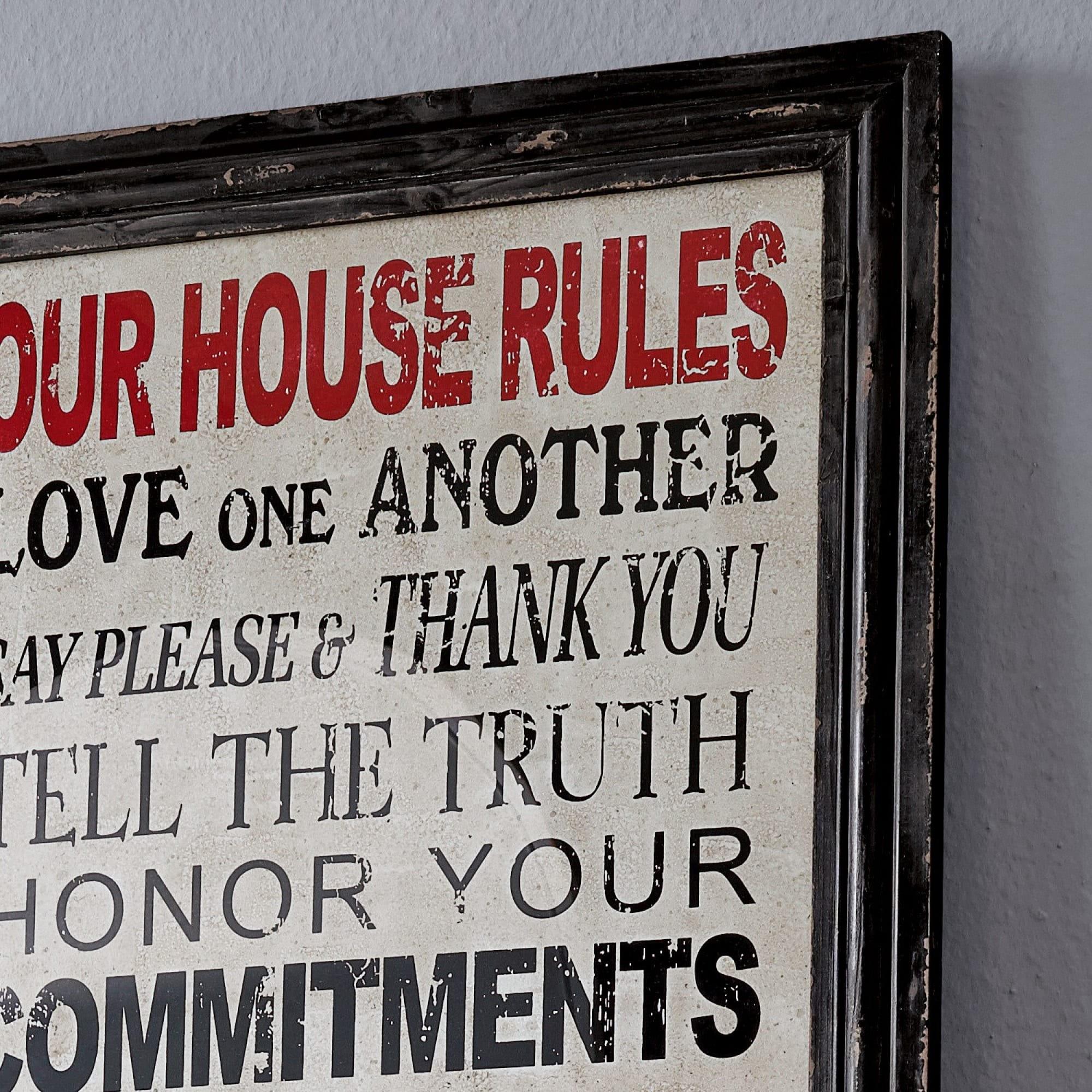 deko board house rules loberon coming home. Black Bedroom Furniture Sets. Home Design Ideas