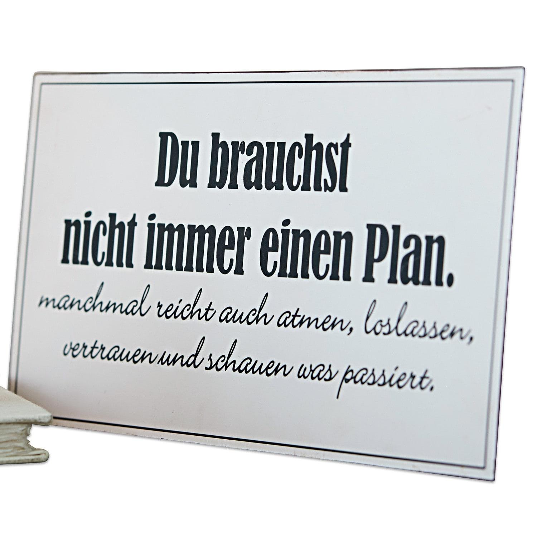 LOBERON Deko-Schild Plan, weiß (0.5 x 20 x 41cm)