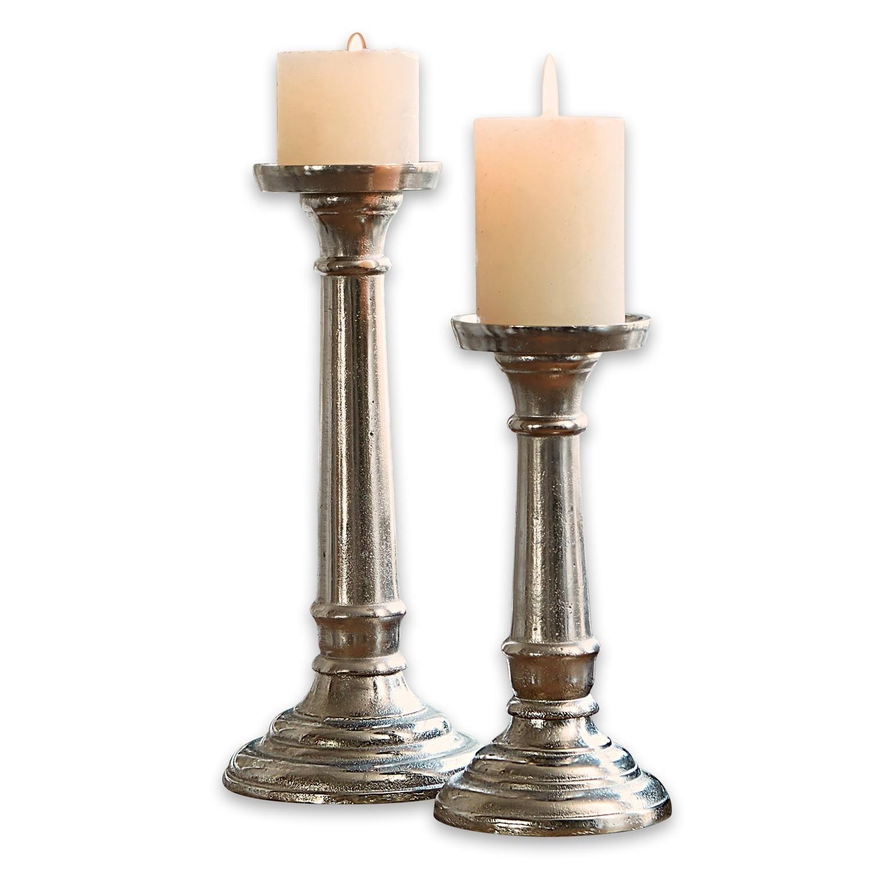 LOBERON Kerzenständer 2er Set Symone, antiksilber