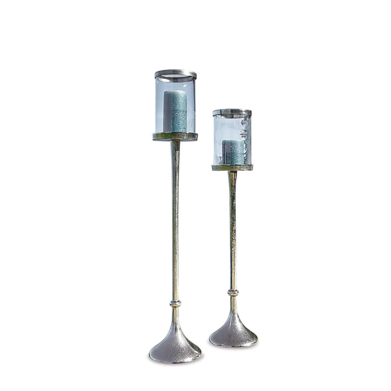 """*NEU*: Kerzenständer """"Oudon"""" aus Aluminium, 2er-Set, silber"""