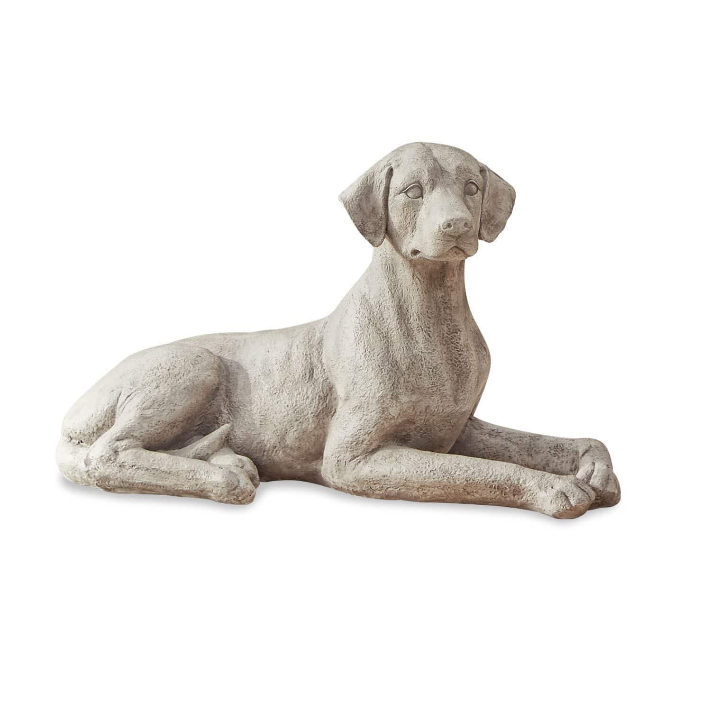 """*NEU*: Gartenskulptur """"Hund Sokrate"""" aus Polyresin,  antikweiß"""