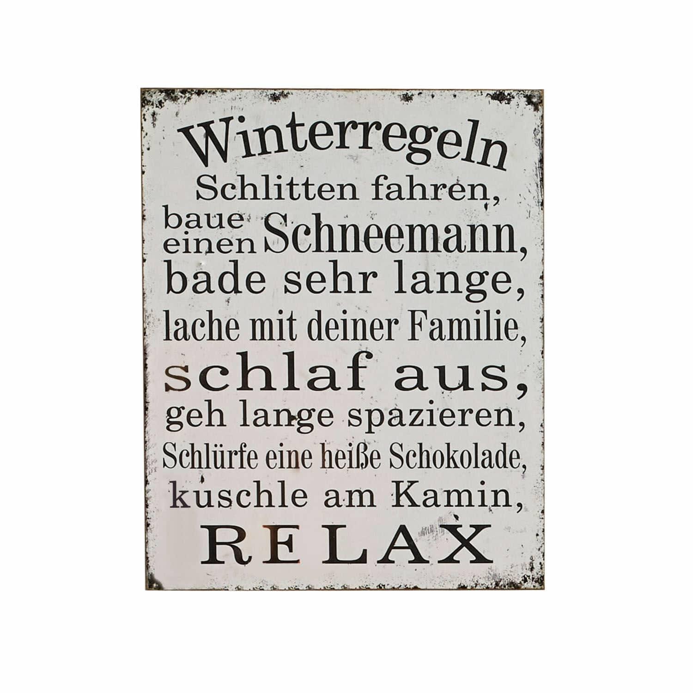 LOBERON Dekoboard Winterregeln, antikweiß (4.5 x 40 x 50cm)