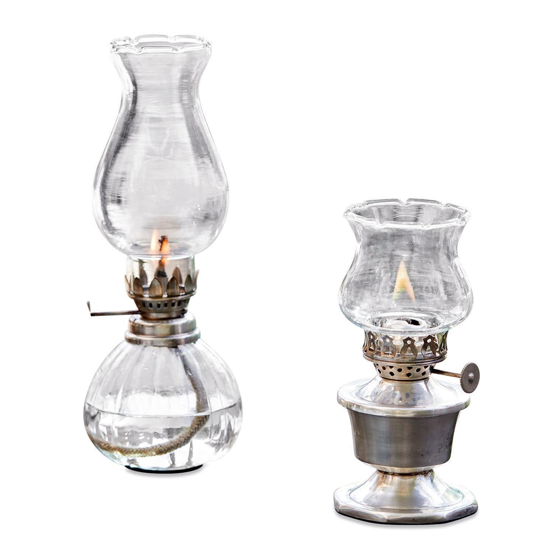 """*NEU*: Öllampe """"Crouy"""" aus Glas und Messing, 2er-Set, silber"""