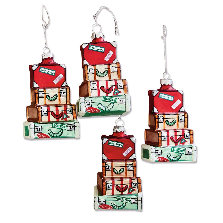 LOBERON Weihnachtsschmuck 4er Set Violette, bunt (6 x 4 x 10cm)