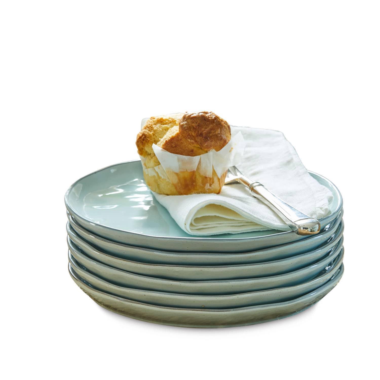LOBERON Dessertteller 6er Set Biarré, türkis (2cm)
