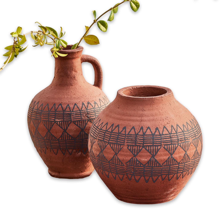 """*NEU*: Vase """"Verna"""" aus Keramik, 2er-Set, orange/schwarz"""