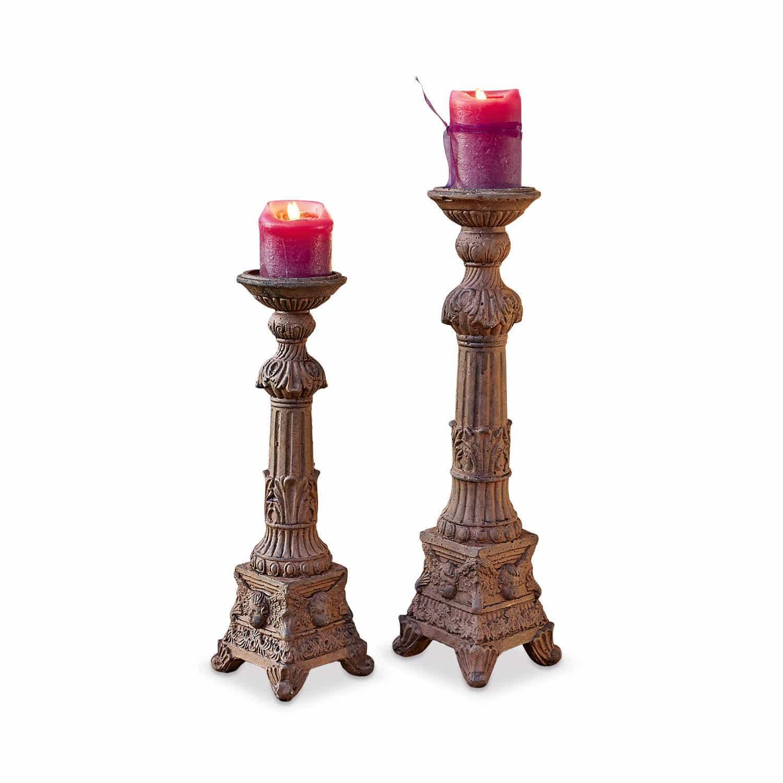 "*NEU*: Kerzenständer ""Leonor"" aus Terrakotta, 2er-Set, braun"