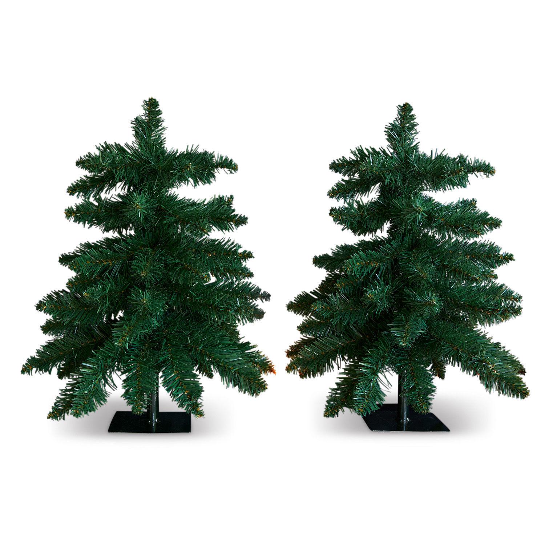 LOBERON Deko-Baum 2er Set Willroy, grün (20 x 13 x 48cm)