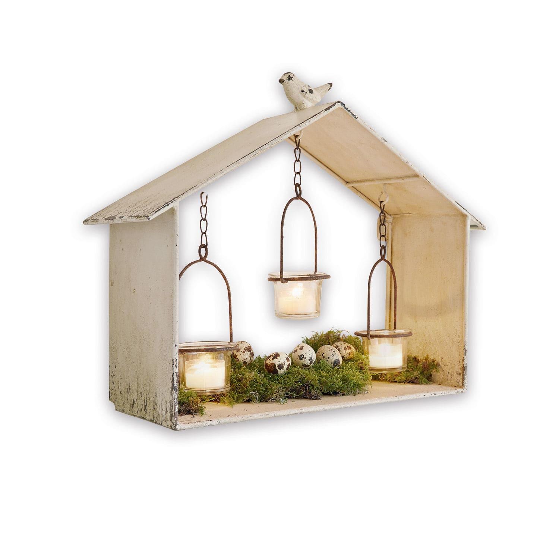 """*NEU*: Windlichthaus """"Visastis"""" aus Eisen und Glas, antikweiß"""