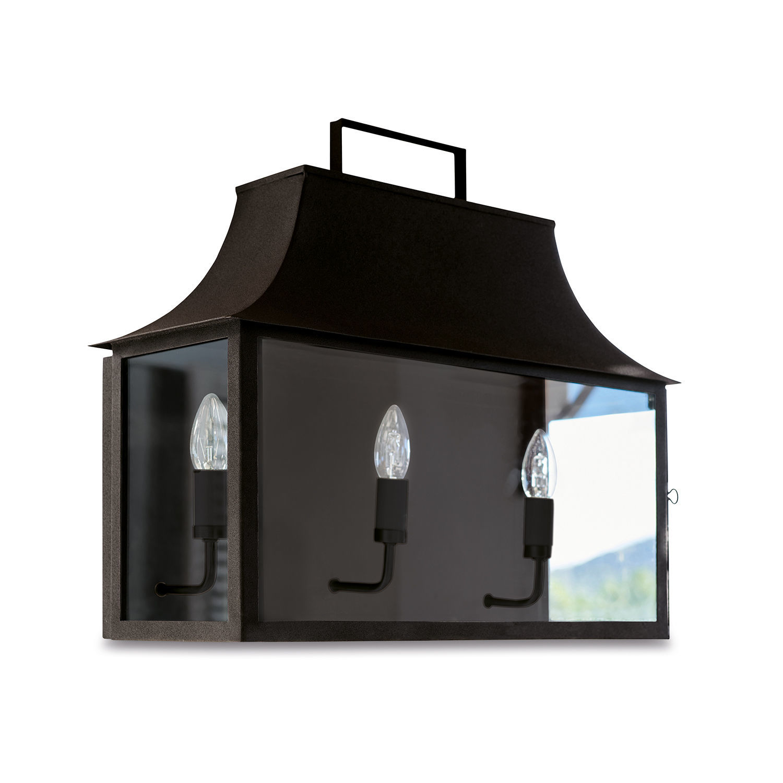 LOBERON Außenwandlampe Radu, schwarz (22 x 51 x 48cm)