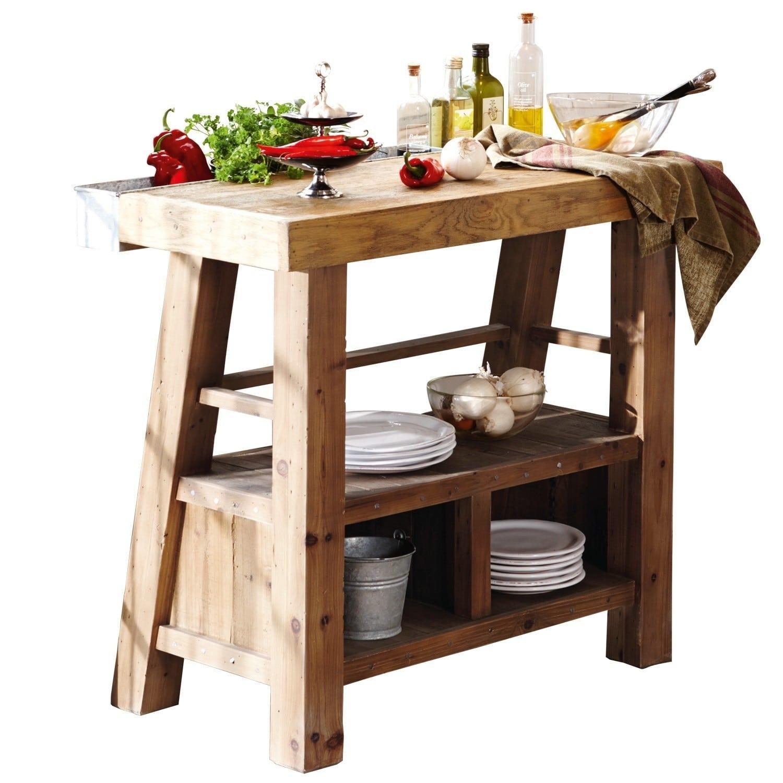 LOBERON Küchenblock Sackville, braun (51 x 100 x 90cm)