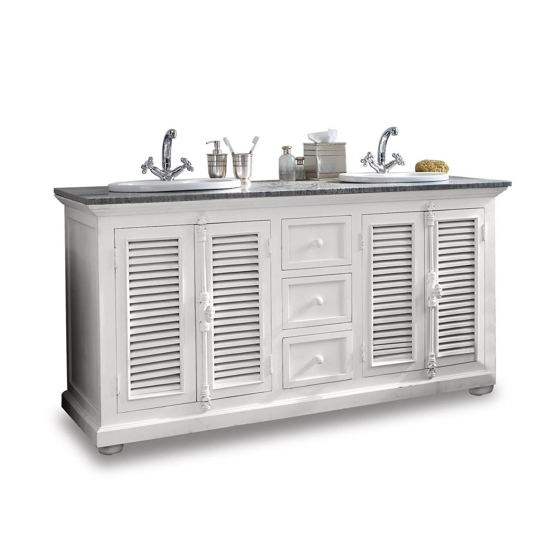 Waschtisch South Paris antikweiß/grau (60 x 160 x 84cm) LOBERON