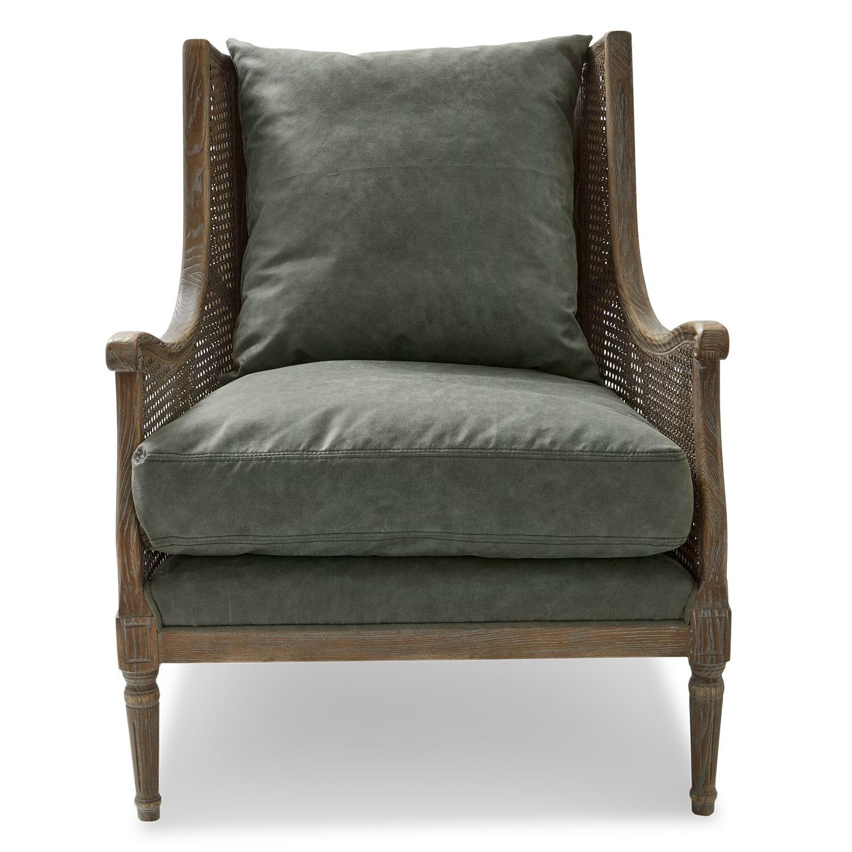 LOBERON Sessel Greenbrier, graubraun/grün (85 x 74.5 x 98cm)
