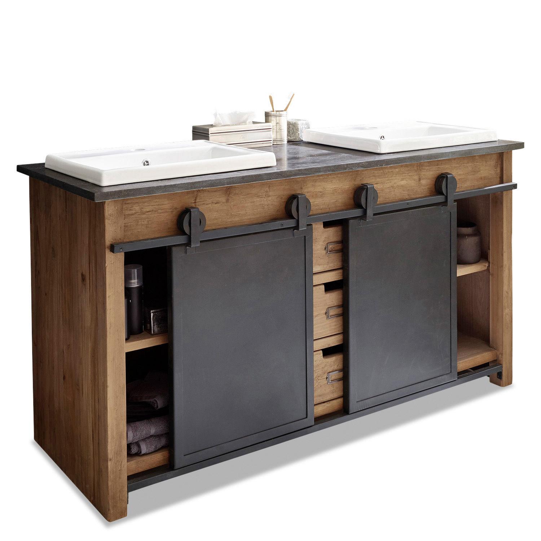 LOBERON Waschtisch Aulon, braun/schwarz 63 x 145 x 85cm   Moebel Suchmaschine   ladendirekt.de