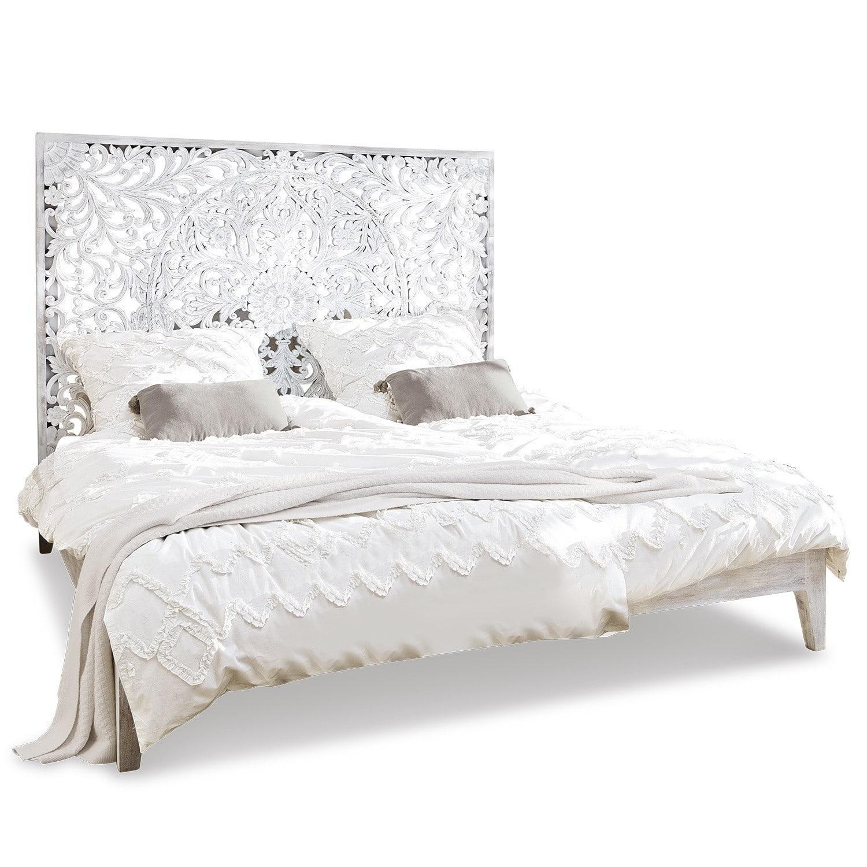 LOBERON Bett Drôme, antikweiß (185 x 210 x 150cm)