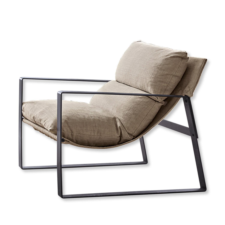 LOBERON Sessel Seuvard, schwarz/beige (89 x 68 x 76cm)