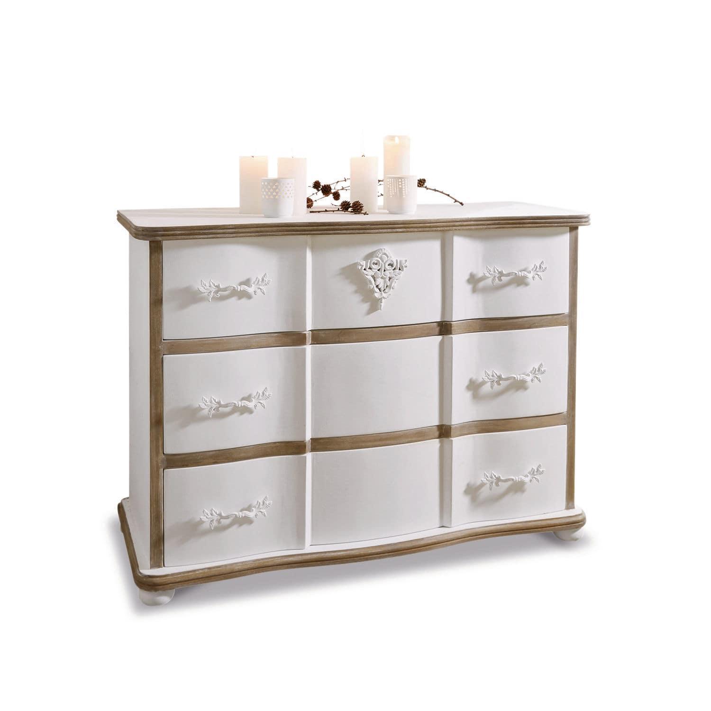 LOBERON Kommode Lomont, weiß/braun (45 x 110 x 80cm)