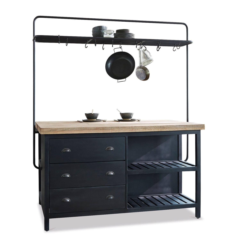 LOBERON Küchenblock Anett, schwarz/braun (92 x 152 x 88cm)