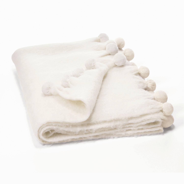 LOBERON Plaid Mencia, weiß (130 x 170cm)